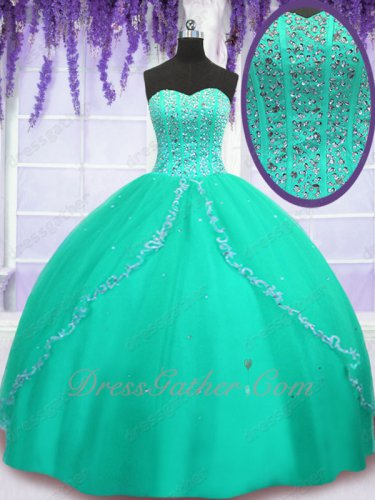 Full Size Customization Very Puffy Turquoise Quinceanera Ball Gown Young Daughters