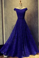 Elegant Capped Shoulder A-line Full Lace Royal Blue Mother of the Bride Dress Senior Lady Gown