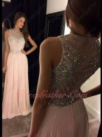 Shiny Beading Bodice Scoop Blush Chiffon Floor Length Stage Show Dress