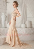 Slender Sweetheart Mermaid Romantic Prom Dress Champagne Chiffon With Lace Decorate