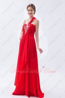 One Shoulder Strap Scarlet Red Chiffon Celebrity Pageant Dress New Arrival