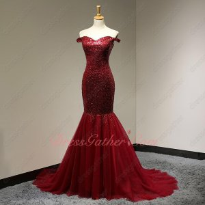 Flashy Sequin Dark Cherry Red Tulle Trumpet Music Festival Dress Amazing