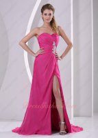 Cheap Fuchsia Chiffon High Slit Exposed Thigh Dress Dolled up For Prom Formal