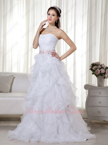 White Stapless Ruffled Skirt White Organza Prom Dress With Beads
