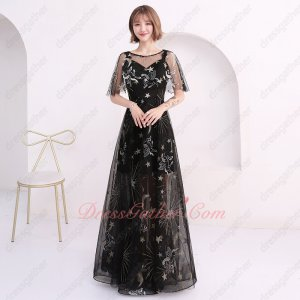 Latest Pegasus Stars & Moon Pattern Black Lace Half Lining Prom Dress