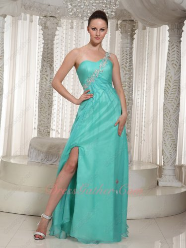 One Strap Light Turquoise Chorus Performance Opening Evening Full Prom Dress Featured