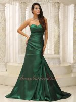 Decent Hunter Green Taffeta Company Fellowship Formal Brush Dress Without Beading