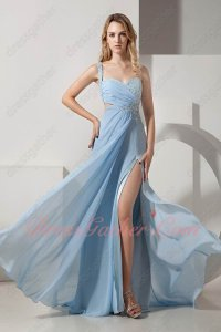 Baby Blue Chiffon High Slit Revealed Shapely Legs Formal Guest Gowns One Strap