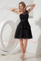 Simple One Shoulder Two Layers Black Puffy Short Homecoming Prom Gowns Under 70