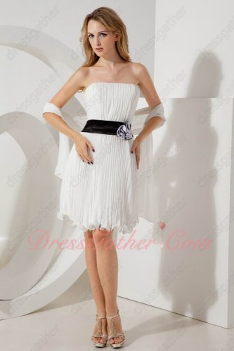 Strapless Off White Knee Length Puckers Short School Prom Gowns With Black Belt