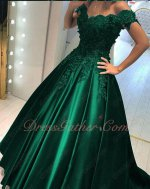 Exquisite V-neck Appliques Hunter Green Sation Prom Gowns Real Products Show