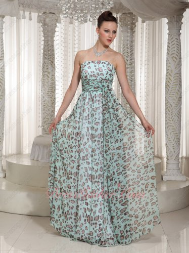 Mint Green Print Leopard Soft Chiffon Summer Beach Style Selva Formal Prom Dress