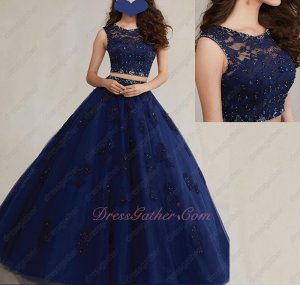 Scoop Neck Navy Blue Two-Pieces Ball Gown Appliques The Entire Dress