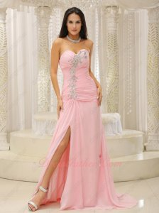 Cute Pink Little Sweep Train Dinner Celebrity Evening Dress Right Thigh Opening Design