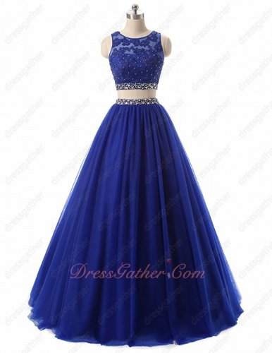 Graceful Lace Corset Exposed Waist Style Two-Piec Royal Blue Dancing Dress