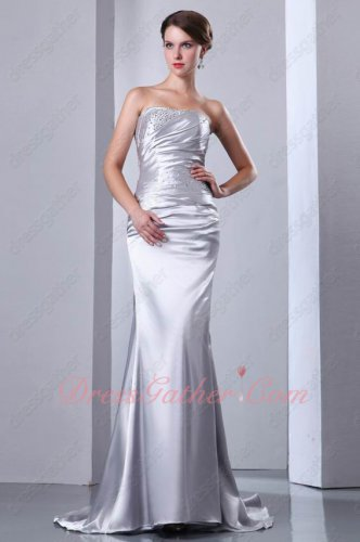 Sleeveless Corset Glossy Silver Elastic Woven Satin Slim Formal Prom Dress Fishtail