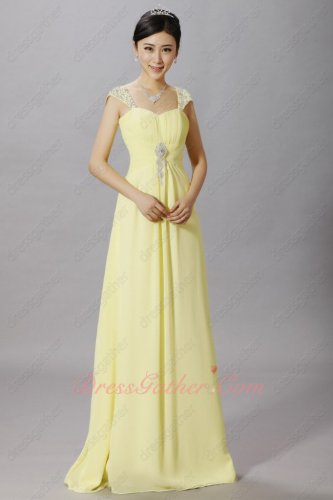 Delicate Cap Sleeves Floor Length Daffodil Chiffon Chorus Performance Dress Shop