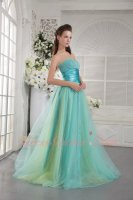 Beaded Blouse Wide Pleat Belt Colorful Tutu Floor Length Tulle Prom Gowns Pageant