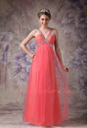 Deep V-neck Watermelon Gauzy Chiffon Flowing Formal Prom Dress Fashionable
