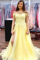 Designer New Off Shoulder Daffodil Mesh Prom Evening Dress With Split