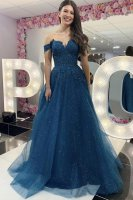 Shiny Off Shoulder Lace Decorated Bodice Thread Waistline Sparkle Tulle Evening Gown