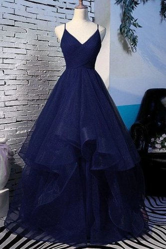 Decent Spaghetti Straps Ruched Navy Blue Horsehair Hemline Annual General Prom Dress