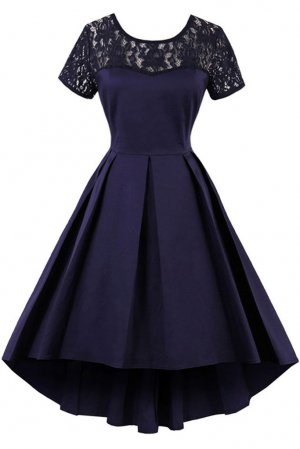 Sweetie Sheer Lace Scoop High Low Skirt Girls Wear Navy Blue Cocktail Dress Homecoming Dancing Gown