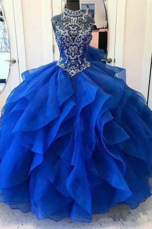Pretty High Neck Crystals Organza Tiered Ruffles With Horsehair Quinceanera Dress Girls 16th Birthday Royal Blue