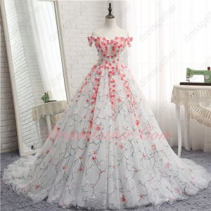 Fairy Forest Series White Tulle 3D Flowers Cathedral Train Ball Gown Plum Blossom Lace