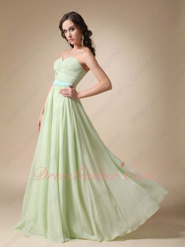 Long Chiffon Jr Bridesmaid Group Dress Attend Wedding Ceremony Mint Green With Ice Blue