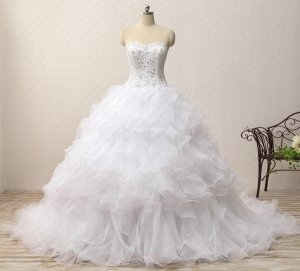 Wavy Waterfalls Skirt Chapel Train Court Destination White Wedding Gowns Promotion