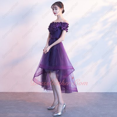 Pansy Grape Purple 3D Appliques and Beadwork Mesh High Low Formal Dress With Horsehair