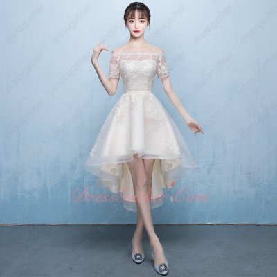 Dreamy High Low Style Portrait Short Sleeves Champagne Lace Homecoming Dress