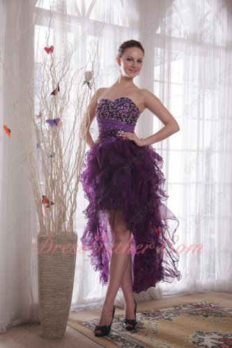 Beautiful Beaded Purple High-low Design Ruffle Carnival Party Dress Online