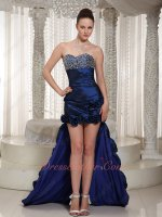 Sedate Navy Blue High-low Taffeta Military Prom Dress For Lady Over 30
