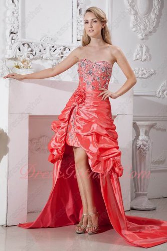 Crystals Embellished High Low Coral Pink Banquet Prom Dress With Chapel Train