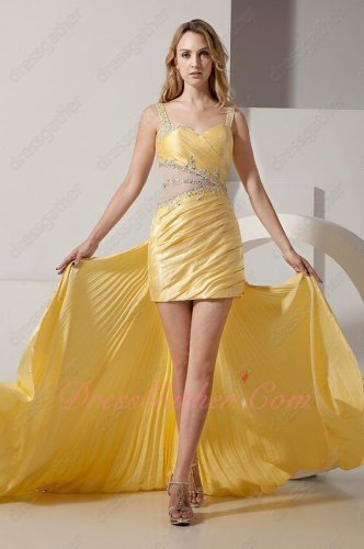 Straps Yellow Girls Stage Show Dancing High Low Prom Dress Deatachable Train