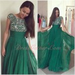New Arrival Annual Gathering Dinner Long Evening Gowns Hunter Green Chiffon Silver Bead