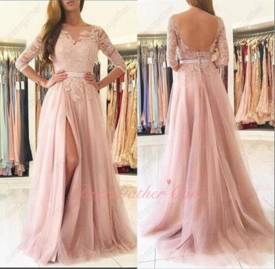 Transparent Scoop Neckline Half Sleeves Blush Pink Mesh Women Prom Dress With Appliques
