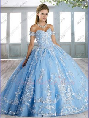 Sparkling Sequin Appliques Baby Blue Tulle Little Brush Train Quinceanera Gowns Cute