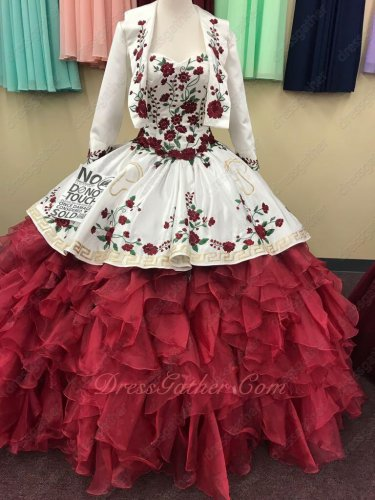 Sweetheart Embroidery Overlay Wave Ruffles Wine Red and White Quinceanera Gowns Western