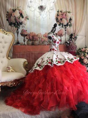 White and Red High Low Overlay Leaves and Flowers Embroidery Western Quinceanera Gown