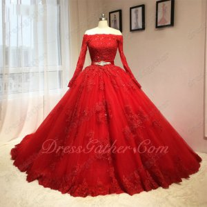 Sheer Mesh Long Applique Sleeves Crystals Belt Very Puffy Quinceanera Ball Gown In Red