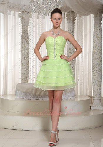 Lightness Yellow Green Tiered Skirt Layers Skirt Mini Prom Dress Classmate Reunion Wear
