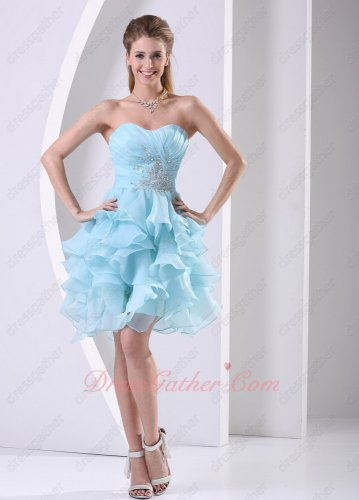 Delicate Sweetheart Beading Baby Blue Ruffles Homecoming Dress Girl First Choice