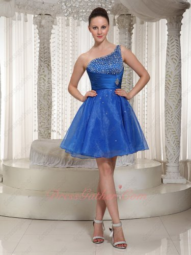 Captivating Single Strap Beaded Royal Blue Organza University Formal Dress Custom Made