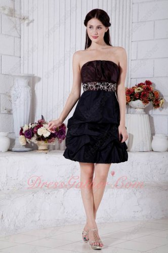 Strapless Black/Burgundy Match Evening Prom Dress Quinquagenary Women Choice