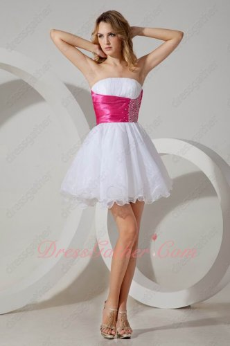 Pure White Puffy Organza Sweet 16 Prom Evening/Masque Dress Without Distributor