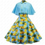 Fruit Orange Printed Fabric Knee Length Summer Cocktail Women Dress With Short Colark