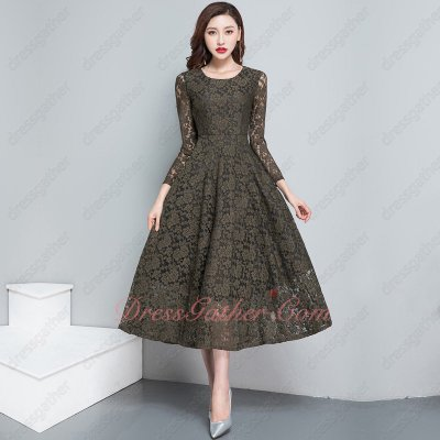 3/4 Sleeve Tea Length Sage Army Green Celadon Lace Casual Prom Dress Annual Conference